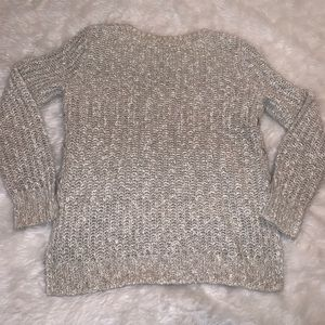 Gray knit chunky lace up sweater m lucky brand